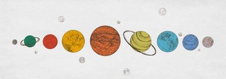 Красочные планеты солнечной системы аранжировали в горизонтальной строке против monochrome предпосылки Небесные светила в наружно бесплатная иллюстрация