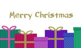 Красочные подарки рождества присутствующие с лентой и нашивками смычка и Стоковые Фотографии RF