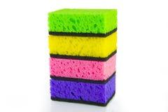 Красочные покрашенные губки на белой предпосылке Стоковое Изображение RF