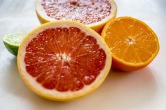 Красочные половинные цитрусовые фрукты, взгляд со стороны, крупный план Стоковое фото RF