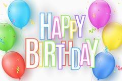 Красочные праздничные воздушные шары на белой предпосылке Надпись с с днем рождениями от пестротканых бумажных писем Взрыв Стоковые Фотографии RF