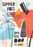 Красочные приглашение или шаблон украшенный с тропическими пальмами, краска плаката пятнают, помарки и scribble на лето бесплатная иллюстрация