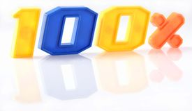 Красочные 100 процентов с отражением на белизне Стоковое Изображение RF