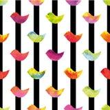 Красочные птицы на белой предпосылке с вертикальными черными нашивками также вектор иллюстрации притяжки corel Стоковое Изображение
