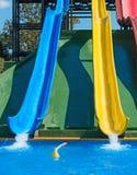 Красочные пластичные водные горки Стоковая Фотография RF