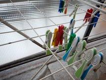 Красочные пластичные колышки одежд на линиях стоковые фото