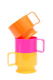 Красочные пластичные чашки Стоковая Фотография RF