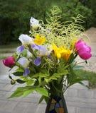 Красочные различные и различные цветки с зеленой предпосылкой, концом вверх, день матерей, букет полевых цветков Стоковые Фото