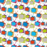 Красочные ретро телевизоры безшовная предпосылка стиля, illustr вектора Стоковые Фото