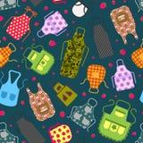 Красочные рисбермы кухни с картиной значков картин безшовной Защитная одежда Варить платье для домохозяйки или шеф-повара  иллюстрация штока