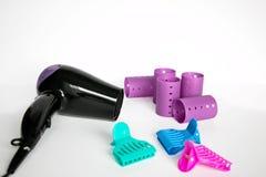 Красочные ролики, штыри и фен для волос волос Стоковое Изображение