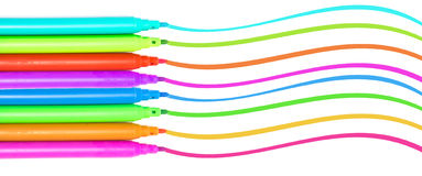 Красочные ручки войлока ручек отметок пестротканые Стоковые Изображения
