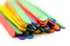 Красочные ручки мороженого на белой предпосылке Стоковая Фотография