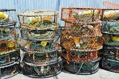 Красочные рыболовные сети и веревочки Стоковая Фотография