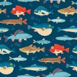 Красочные рыбы, vector безшовная картина Стоковые Фотографии RF
