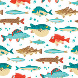 Красочные рыбы, vector безшовная картина Стоковое Фото