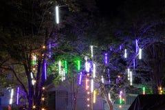 Красочные света вися на ноче Стоковое фото RF