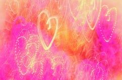 Красочные света в форме сердца, неоновой текстуры стоковые фотографии rf