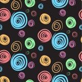 Красочные свирли на черной картине Стоковое Изображение RF