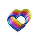 красочные сердца 3d совмещенные совместно иллюстрация вектора