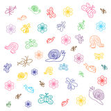 Красочные смешные насекомые Doodle Чертежи детей милых черепашок, бабочек, муравьев и улиток внезапный тип эскиза света компьтер- Стоковое фото RF