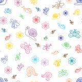 Красочные смешные насекомые Doodle Чертежи детей милых черепашок, бабочек, муравьев и улиток внезапный тип эскиза света компьтер- Стоковые Изображения RF