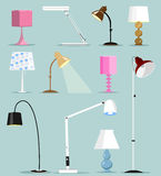 Красочные современные установленные лампы Плоская иллюстрация вектора стиля иллюстрация штока