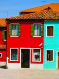 Красочные старые дома на острове Burano Стоковое Изображение