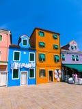 Красочные старые дома на острове Burano Стоковое Фото