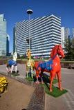 Красочные статуи лошадей в Астане Стоковое Изображение RF