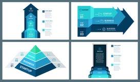Красочные стрелка перспективы вектора, пирамида и шаблон Infographic двери Стоковые Фотографии RF