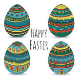 Красочные счастливые пасхальные яйца установили собрание, иллюстрацию вектора Стоковые Изображения