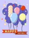 Красочные с днем рождения в плоском стиле Стоковое Изображение