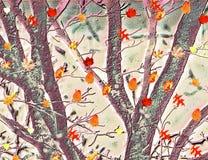 Красочные танцы выходят против текстурированной предпосылки деревьев стоковая фотография