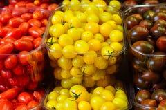 Красочные томаты вишни в пластичных корзинах Стоковые Изображения RF