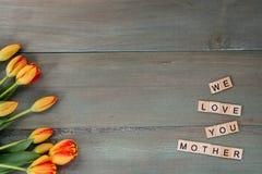 Красочные тюльпаны на выдержанных зеленых планках Письма плитки с sen Стоковые Фото