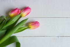 Красочные тюльпаны на деревянном столе Взгляд сверху с космосом экземпляра стоковые фотографии rf