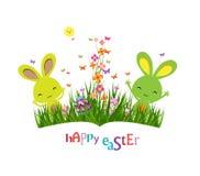 Красочные луг весны, яичка и зайчик пасхи иллюстрация штока