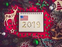 Красочные украшения Нового Года и рождества, карточка 2007 приветствуя счастливое Новый Год стоковое фото
