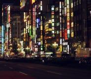 Красочные уличные светы токио - Японии стоковое фото rf