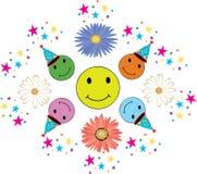 Красочные улыбки для дня рождения с confetti иллюстрация вектора