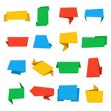 Красочные установленные знамена origami Винтажные ярлыки и значки вектора Стоковое Изображение