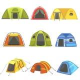 Красочные установленные шатры брезента иллюстрация вектора