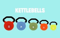 Красочные установленные kettlebells также вектор иллюстрации притяжки corel Стоковая Фотография RF