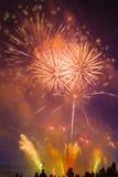 Красочные фейерверки в небе Стоковое Изображение