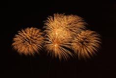 Красочные фейерверки изолированные в темном конце предпосылки вверх с местом для текста в Мальте Стоковые Изображения RF