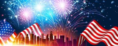 Красочные фейерверки на День независимости Америки вектор Стоковое Изображение