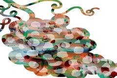 Красочные формы в пастельных оттенках на белой предпосылке, концепции лозы Стоковые Изображения RF