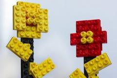 Красочные цветки от пластичных блоков изолированных на белизне Стоковое Изображение