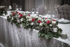 Красочные цветки таблицы свадьбы стоковое фото